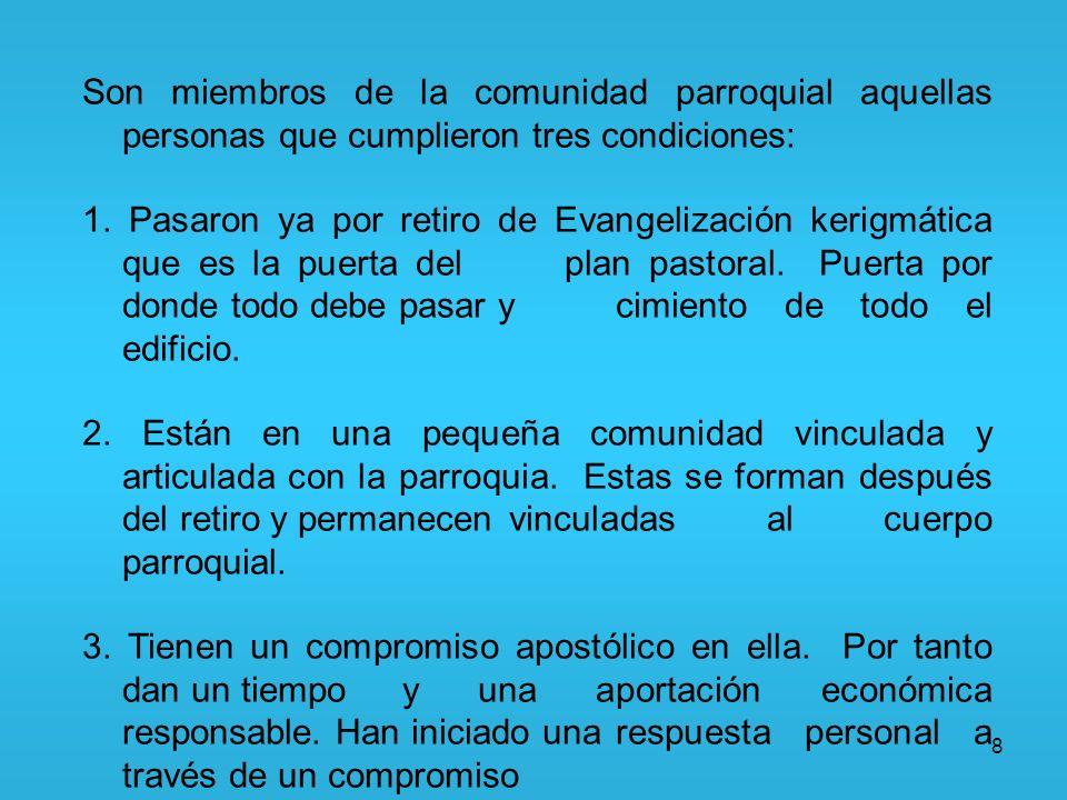 Son miembros de la comunidad parroquial aquellas personas que cumplieron tres condiciones: