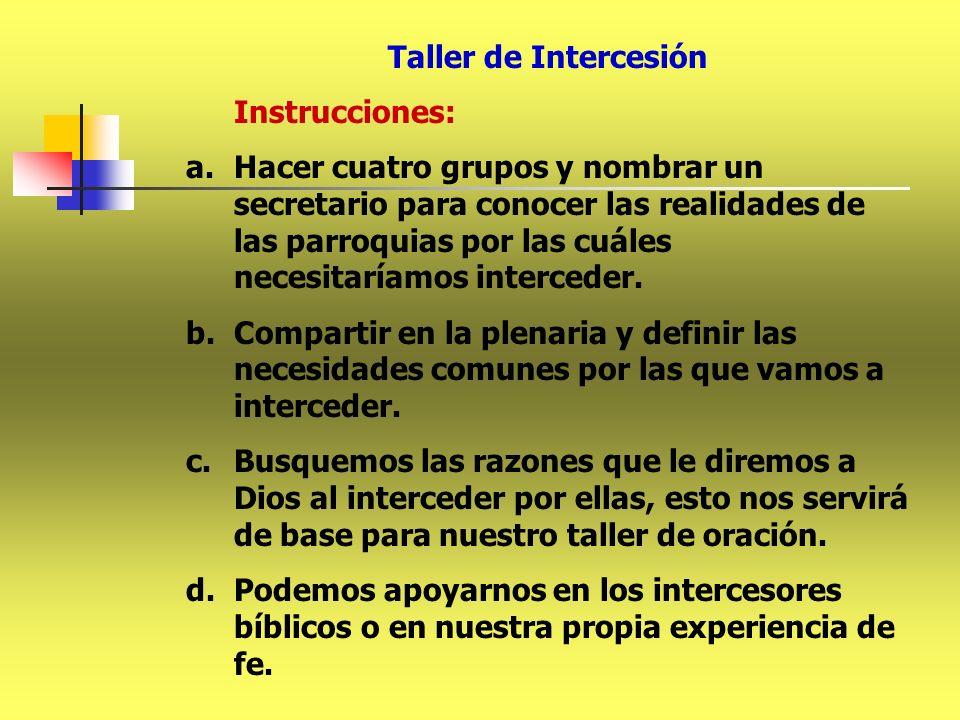 Taller de Intercesión Instrucciones: