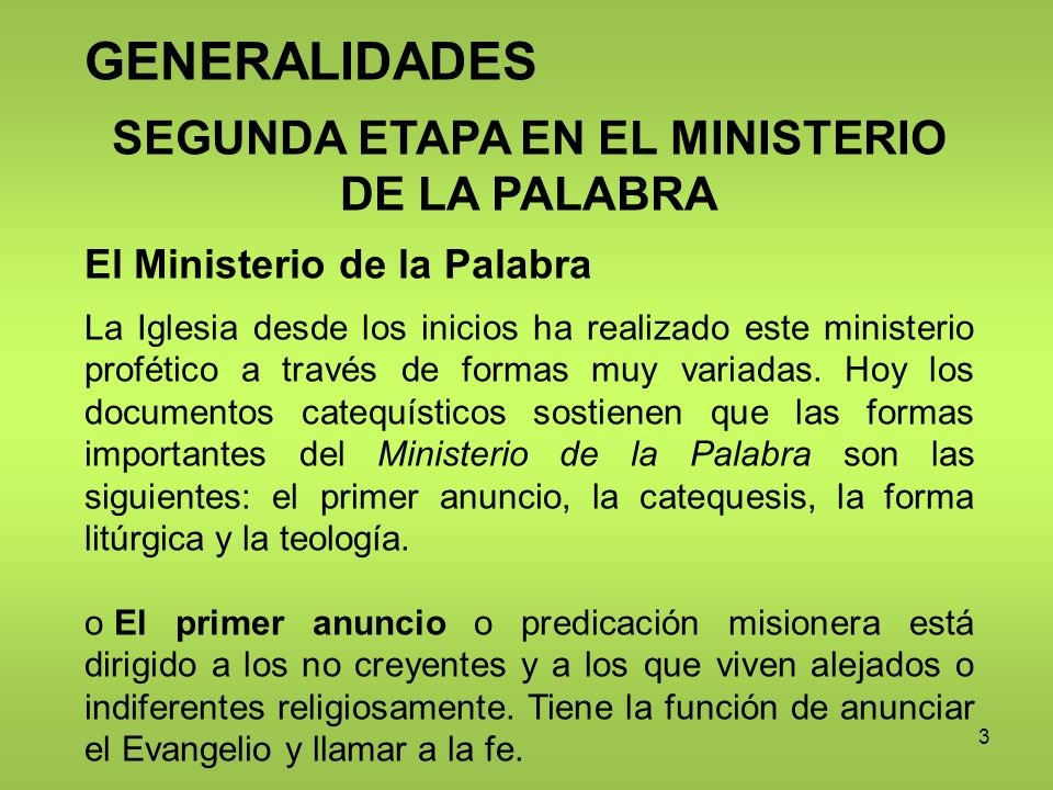 SEGUNDA ETAPA EN EL MINISTERIO DE LA PALABRA