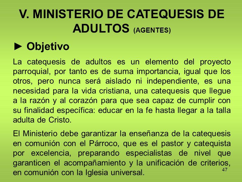 V. MINISTERIO DE CATEQUESIS DE ADULTOS (AGENTES)