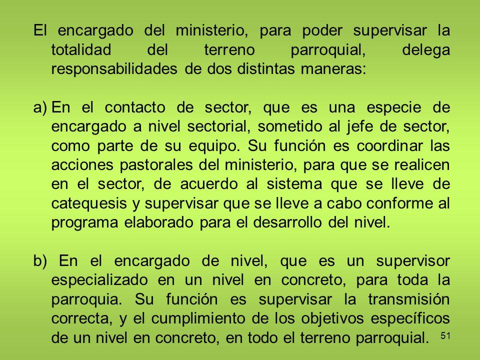 El encargado del ministerio, para poder supervisar la totalidad del terreno parroquial, delega responsabilidades de dos distintas maneras: