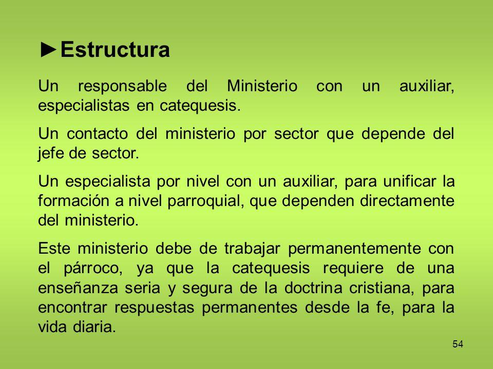 ►Estructura Un responsable del Ministerio con un auxiliar, especialistas en catequesis.