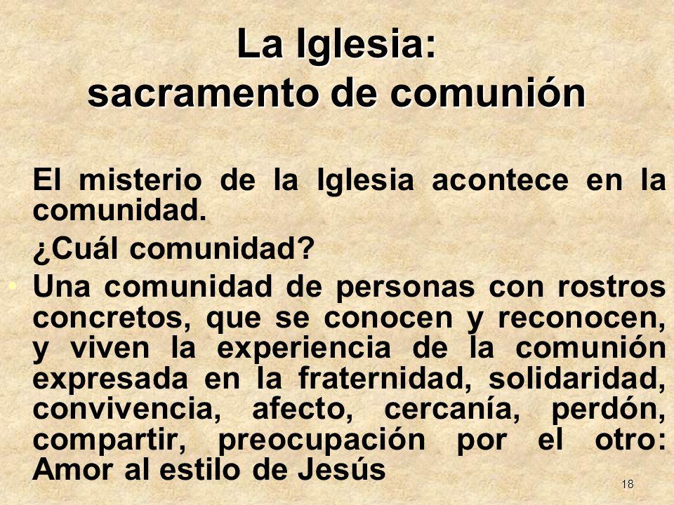 La Iglesia: sacramento de comunión