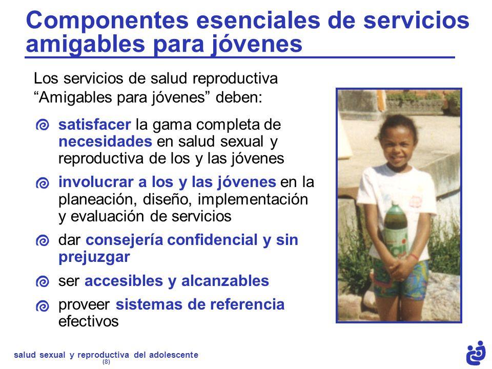 Componentes esenciales de servicios amigables para jóvenes