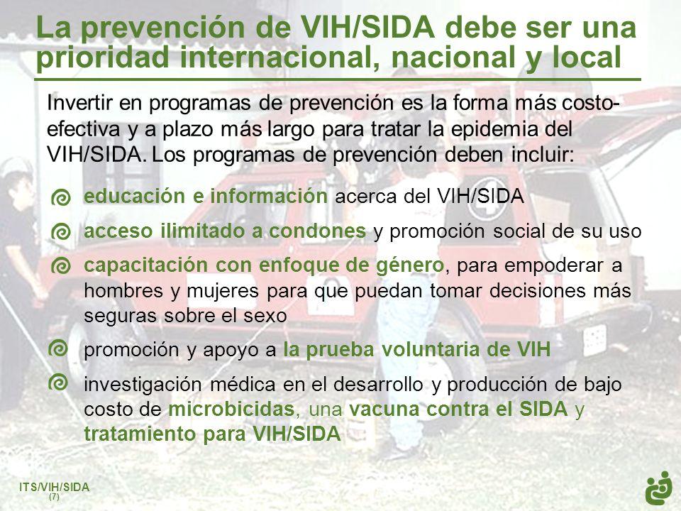 La prevención de VIH/SIDA debe ser una prioridad internacional, nacional y local