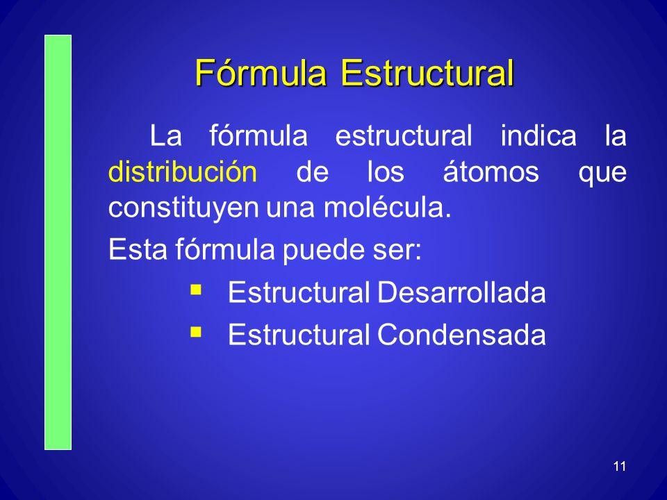 Fórmula Estructural La fórmula estructural indica la distribución de los átomos que constituyen una molécula.