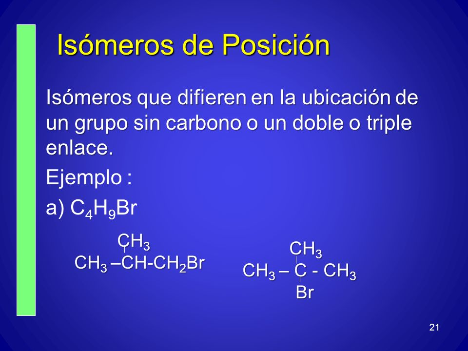 Isómeros de Posición Isómeros que difieren en la ubicación de un grupo sin carbono o un doble o triple enlace.