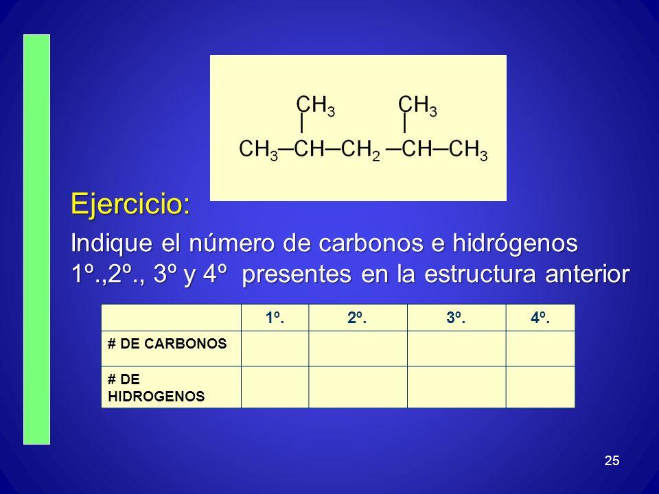Ejercicio: Indique el número de carbonos e hidrógenos 1º.,2º., 3º y 4º presentes en la estructura anterior.