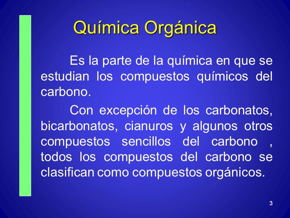 Química Orgánica Es la parte de la química en que se estudian los compuestos químicos del carbono.
