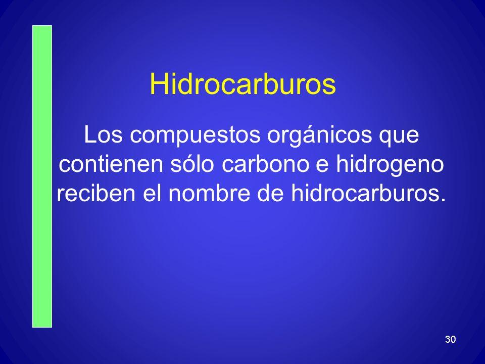 HidrocarburosLos compuestos orgánicos que contienen sólo carbono e hidrogeno reciben el nombre de hidrocarburos.