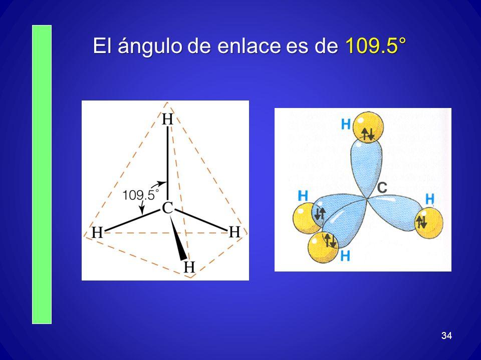 El ángulo de enlace es de 109.5°