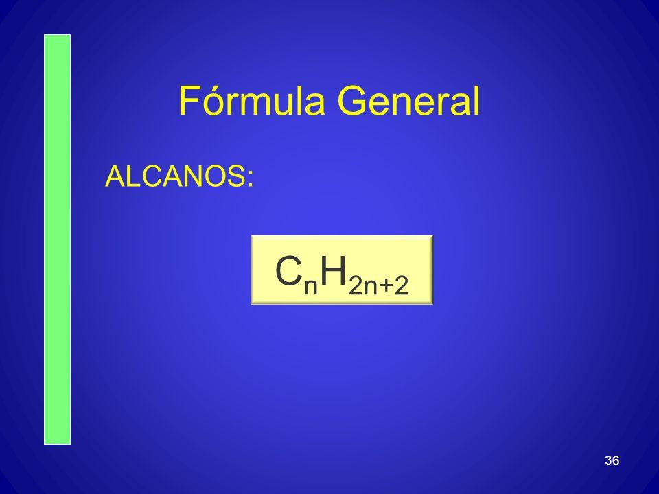 Fórmula General ALCANOS: CnH2n+2