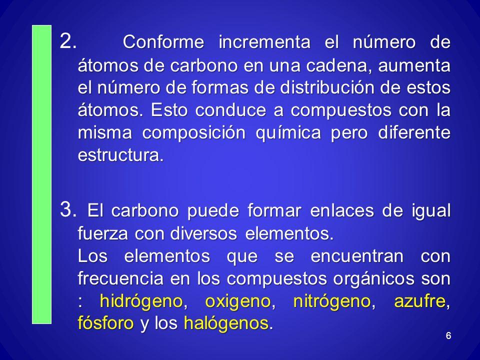 2. Conforme incrementa el número de átomos de carbono en una cadena, aumenta el número de formas de distribución de estos átomos. Esto conduce a compuestos con la misma composición química pero diferente estructura.
