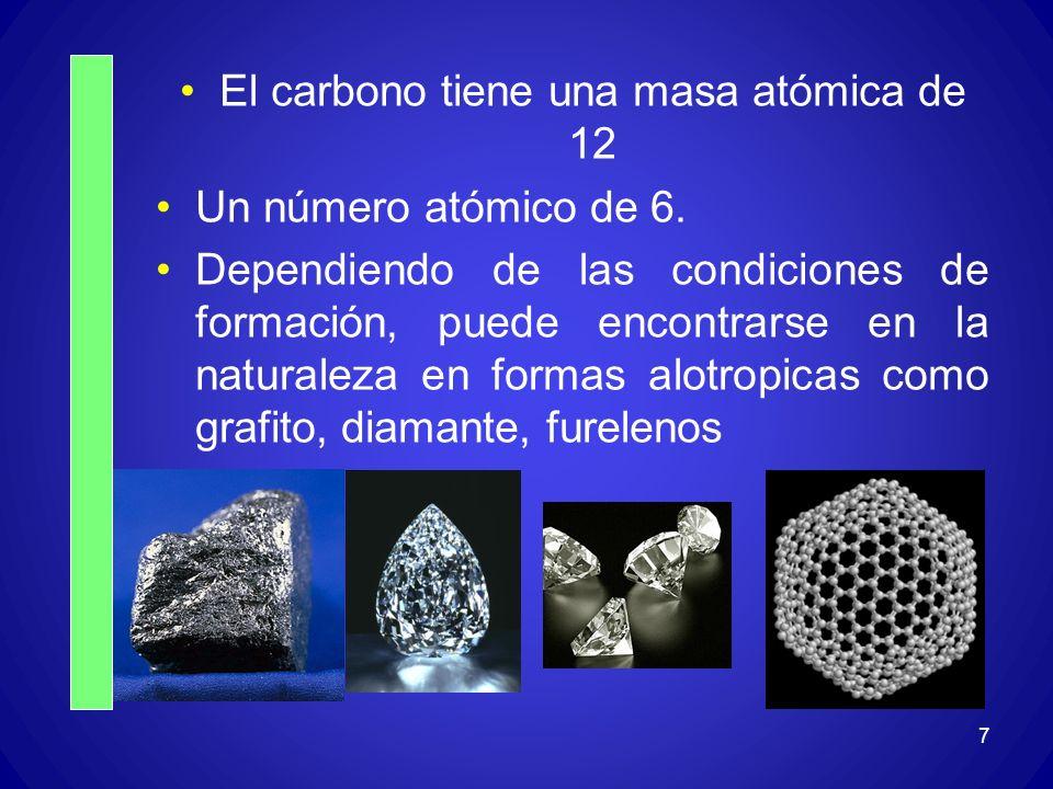 El carbono tiene una masa atómica de 12