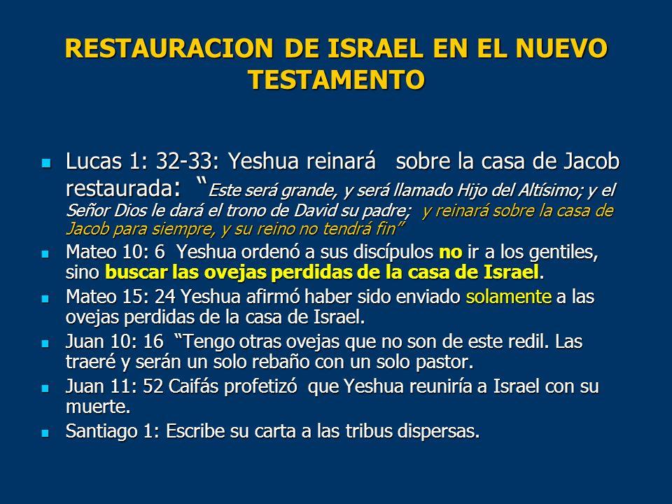 RESTAURACION DE ISRAEL EN EL NUEVO TESTAMENTO