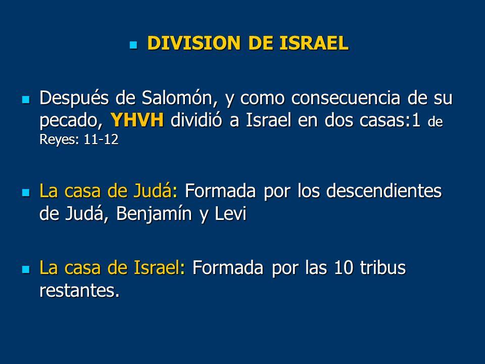 DIVISION DE ISRAEL Después de Salomón, y como consecuencia de su pecado, YHVH dividió a Israel en dos casas:1 de Reyes: 11-12.