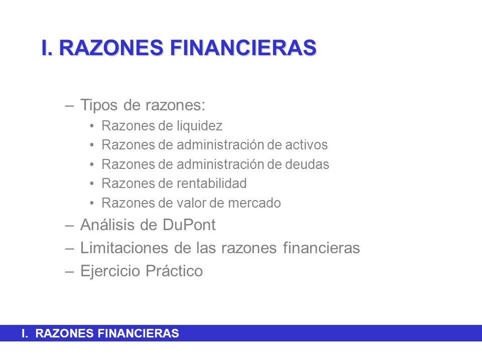 I. RAZONES FINANCIERAS Tipos de razones: Análisis de DuPont