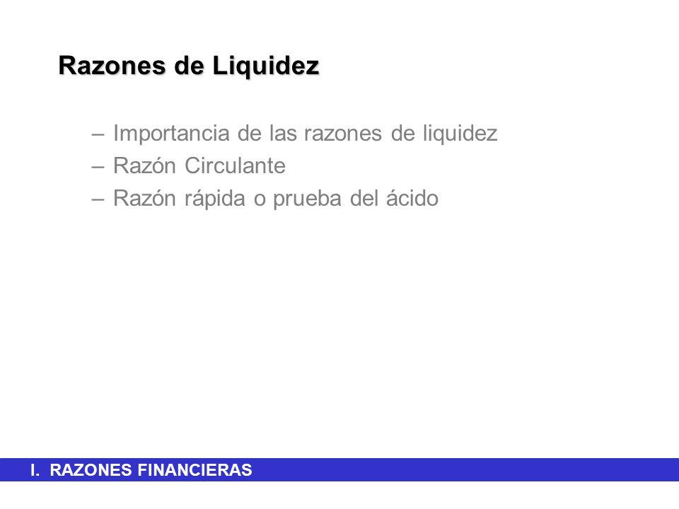 Razones de Liquidez Importancia de las razones de liquidez