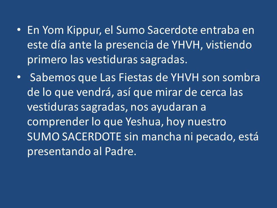 En Yom Kippur, el Sumo Sacerdote entraba en este día ante la presencia de YHVH, vistiendo primero las vestiduras sagradas.