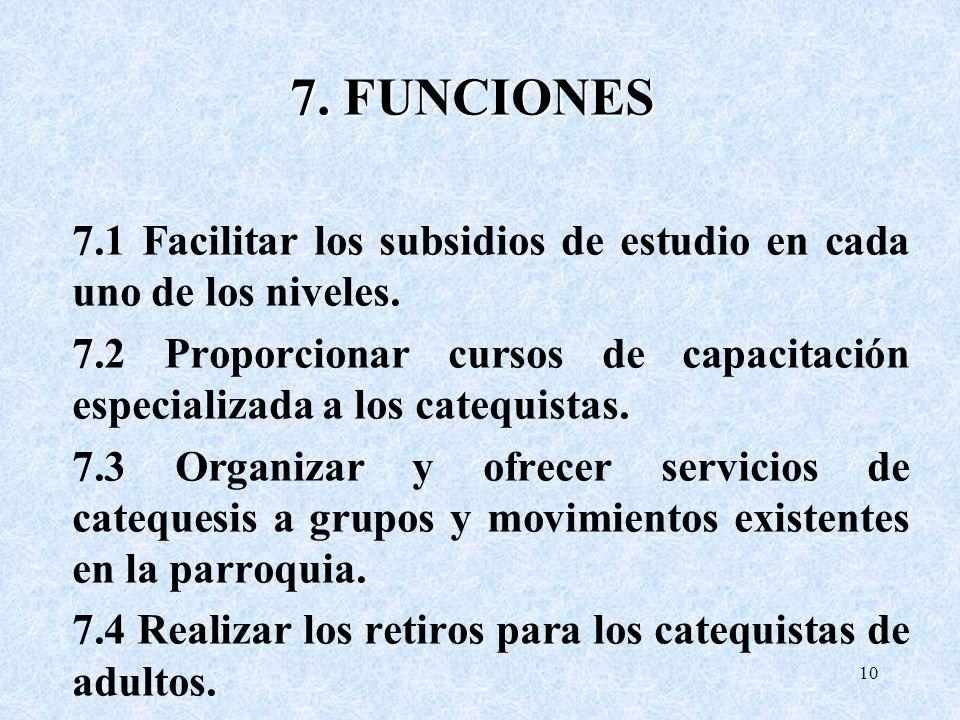 7. FUNCIONES 7.1 Facilitar los subsidios de estudio en cada uno de los niveles.