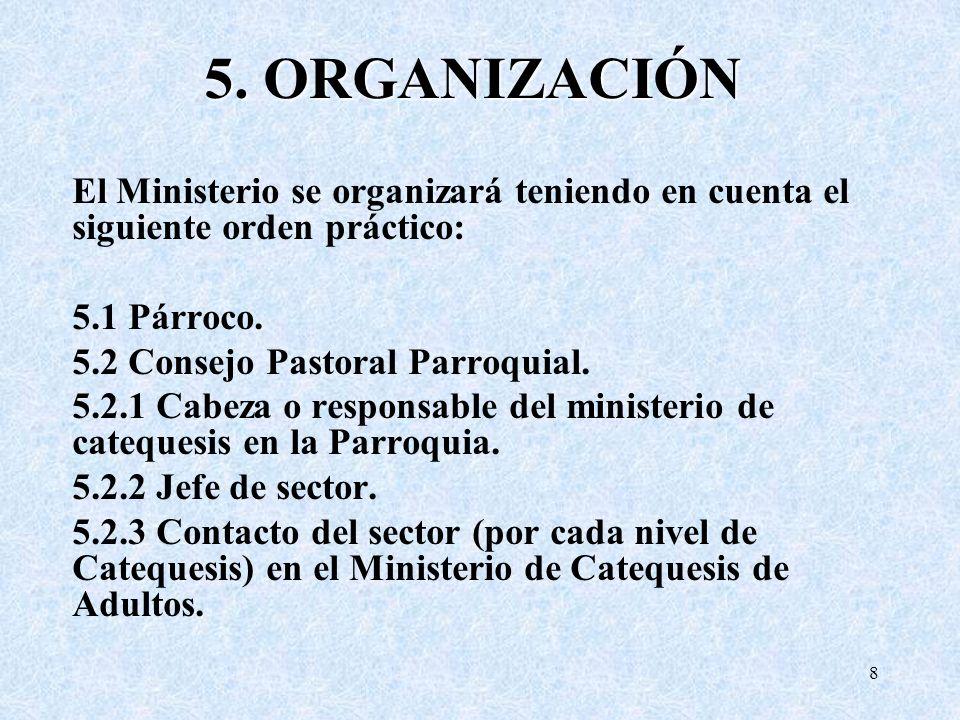 5. ORGANIZACIÓN El Ministerio se organizará teniendo en cuenta el siguiente orden práctico: 5.1 Párroco.