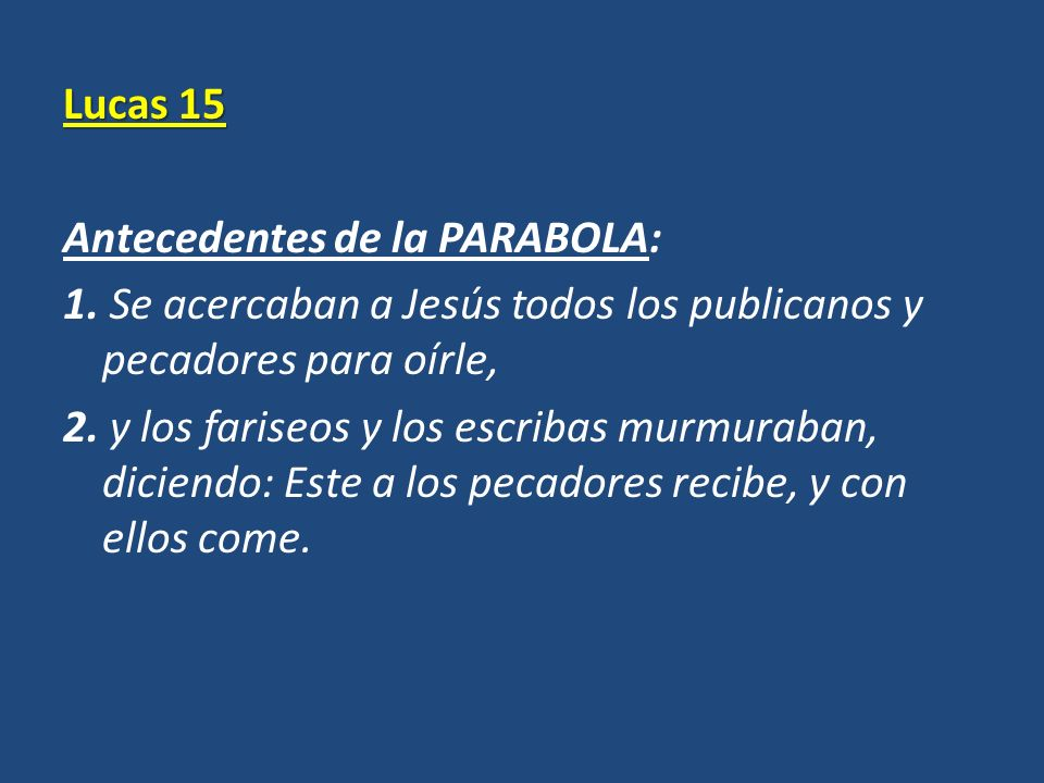 Lucas 15 Antecedentes de la PARABOLA: 1
