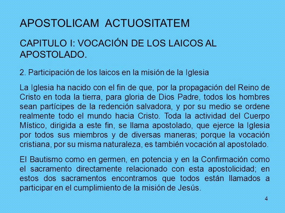 APOSTOLICAM ACTUOSITATEM