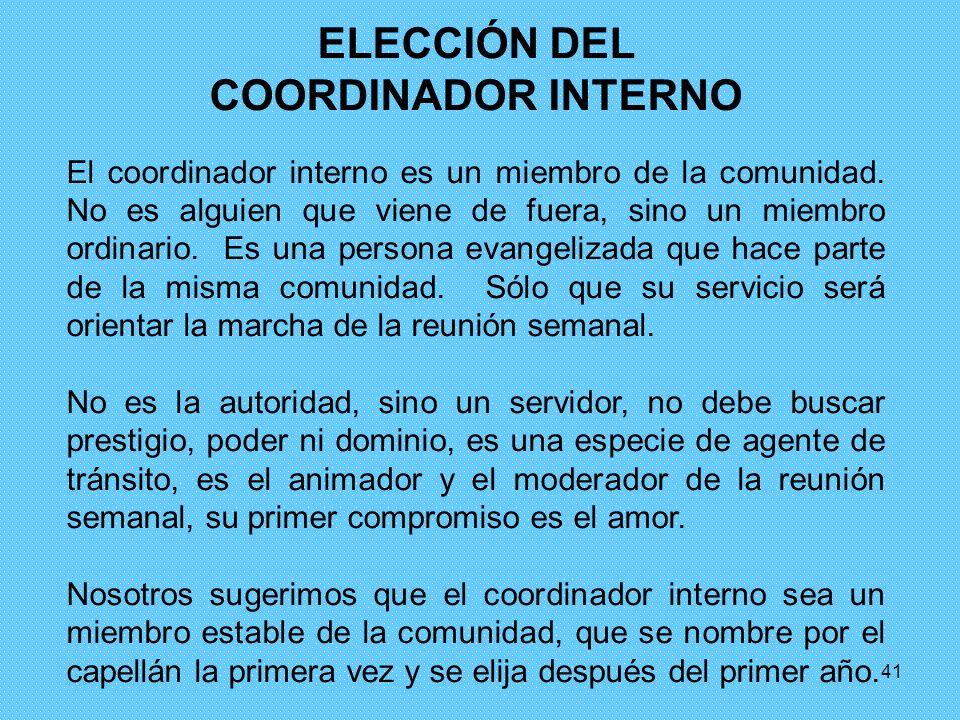 ELECCIÓN DEL COORDINADOR INTERNO