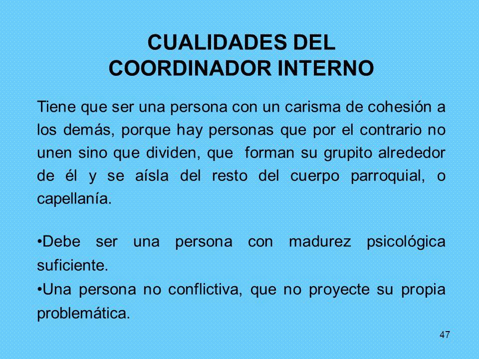 CUALIDADES DEL COORDINADOR INTERNO