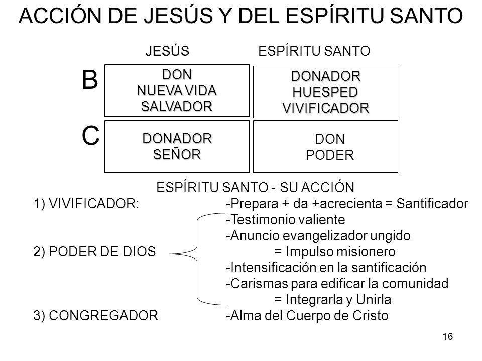 B C ACCIÓN DE JESÚS Y DEL ESPÍRITU SANTO JESÚS ESPÍRITU SANTO DON