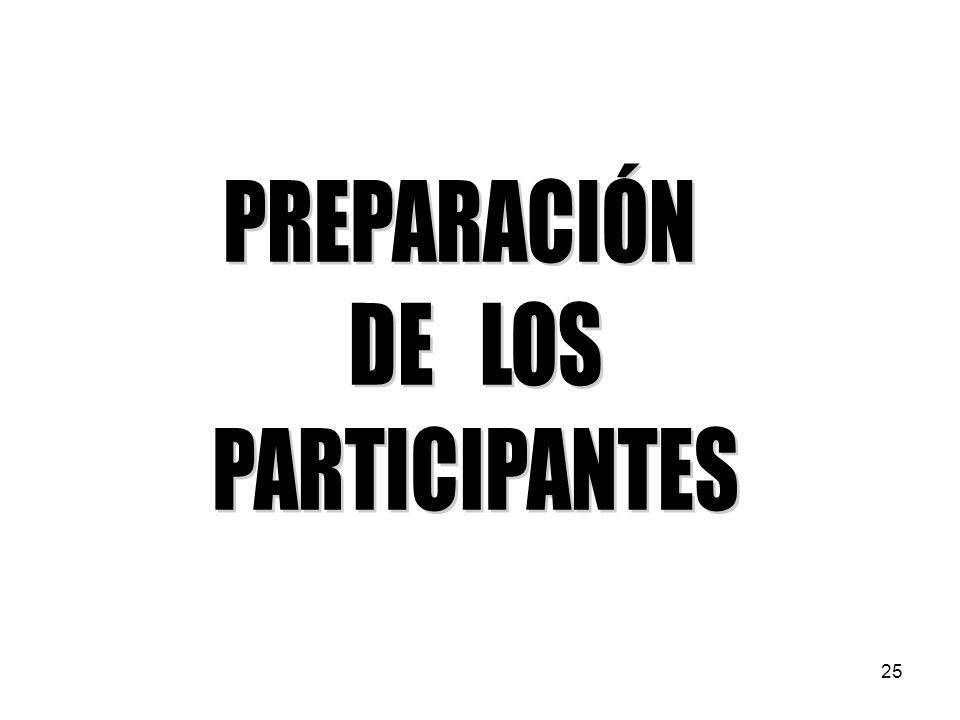 PREPARACIÓN DE LOS PARTICIPANTES 25