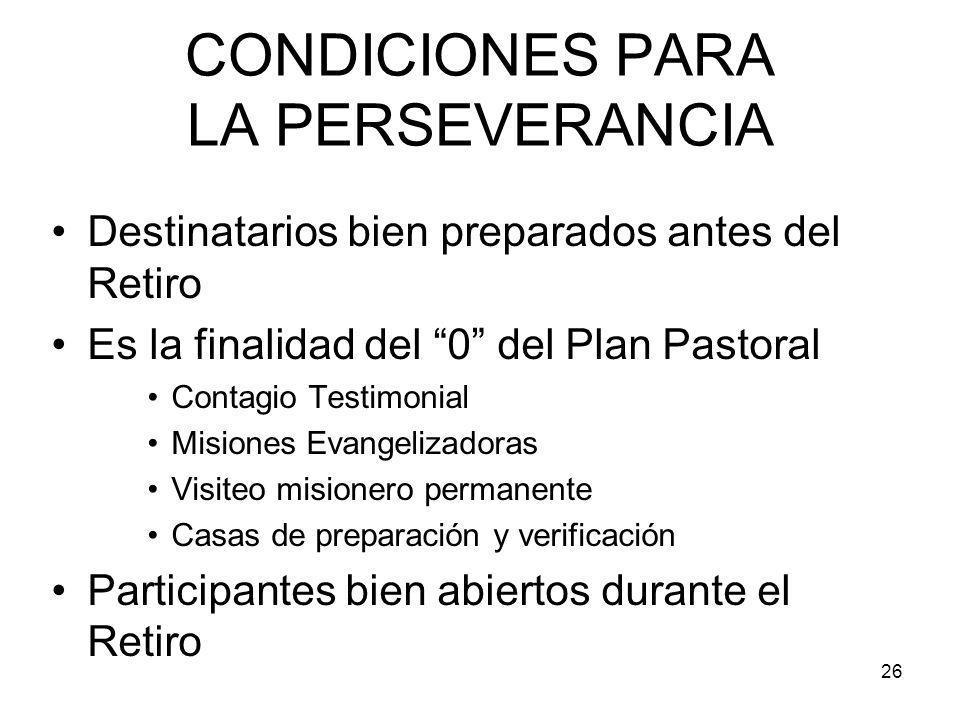 CONDICIONES PARA LA PERSEVERANCIA