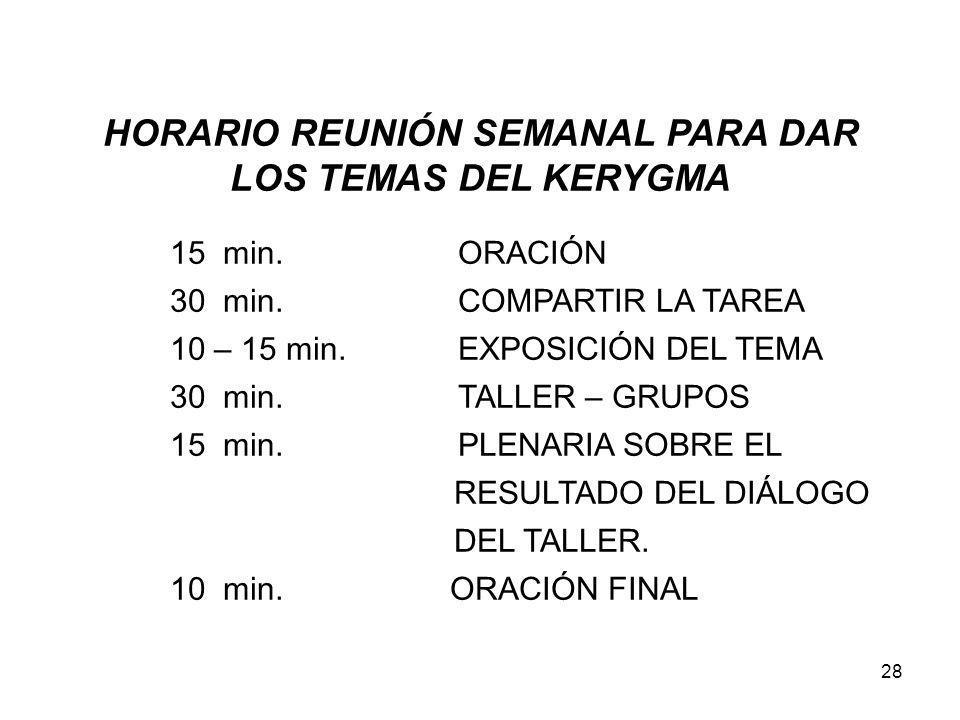 HORARIO REUNIÓN SEMANAL PARA DAR