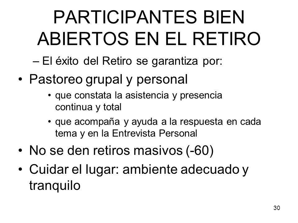 PARTICIPANTES BIEN ABIERTOS EN EL RETIRO