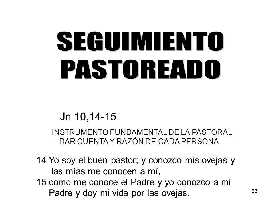 SEGUIMIENTO PASTOREADO Jn 10,14-15