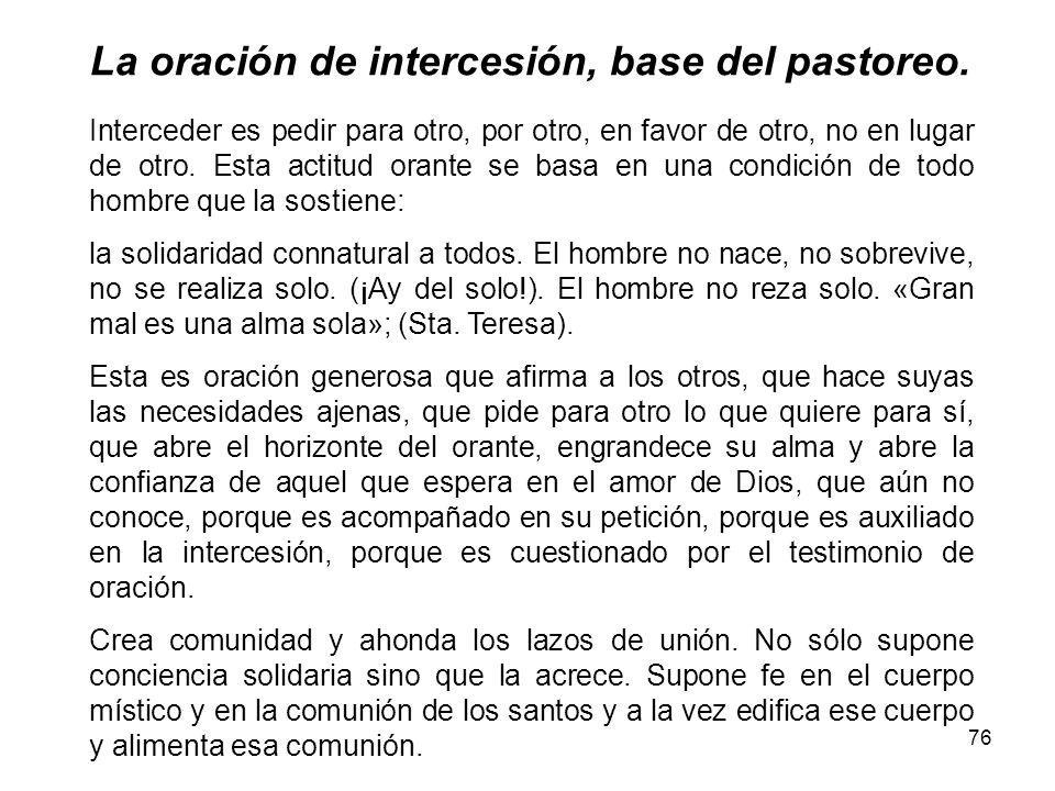 La oración de intercesión, base del pastoreo.