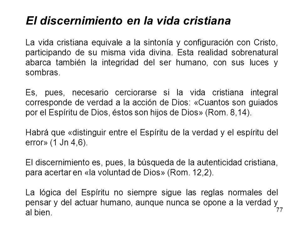 El discernimiento en la vida cristiana