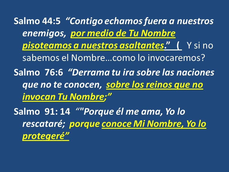 Salmo 44:5 Contigo echamos fuera a nuestros enemigos, por medio de Tu Nombre pisoteamos a nuestros asaltantes. ( Y si no sabemos el Nombre…como lo invocaremos.