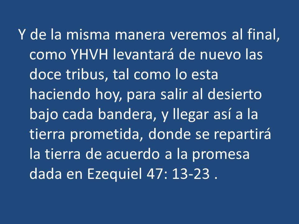 Y de la misma manera veremos al final, como YHVH levantará de nuevo las doce tribus, tal como lo esta haciendo hoy, para salir al desierto bajo cada bandera, y llegar así a la tierra prometida, donde se repartirá la tierra de acuerdo a la promesa dada en Ezequiel 47: 13-23 .