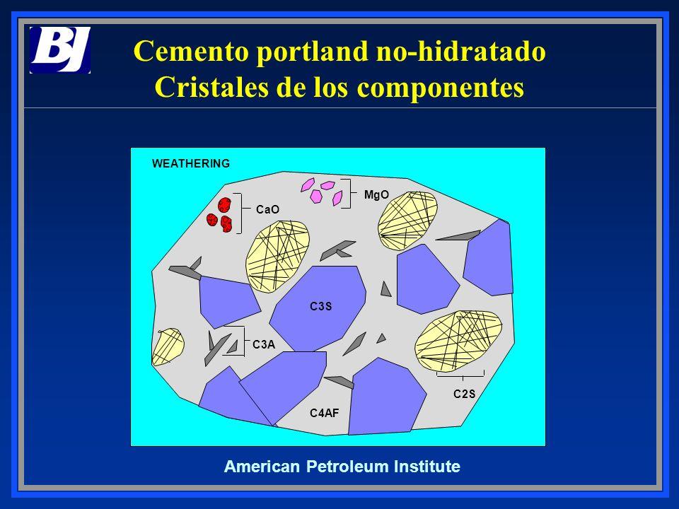 Cemento portland no-hidratado Cristales de los componentes
