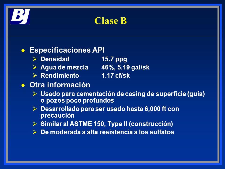 Clase B Especificaciones API Otra información Densidad 15.7 ppg