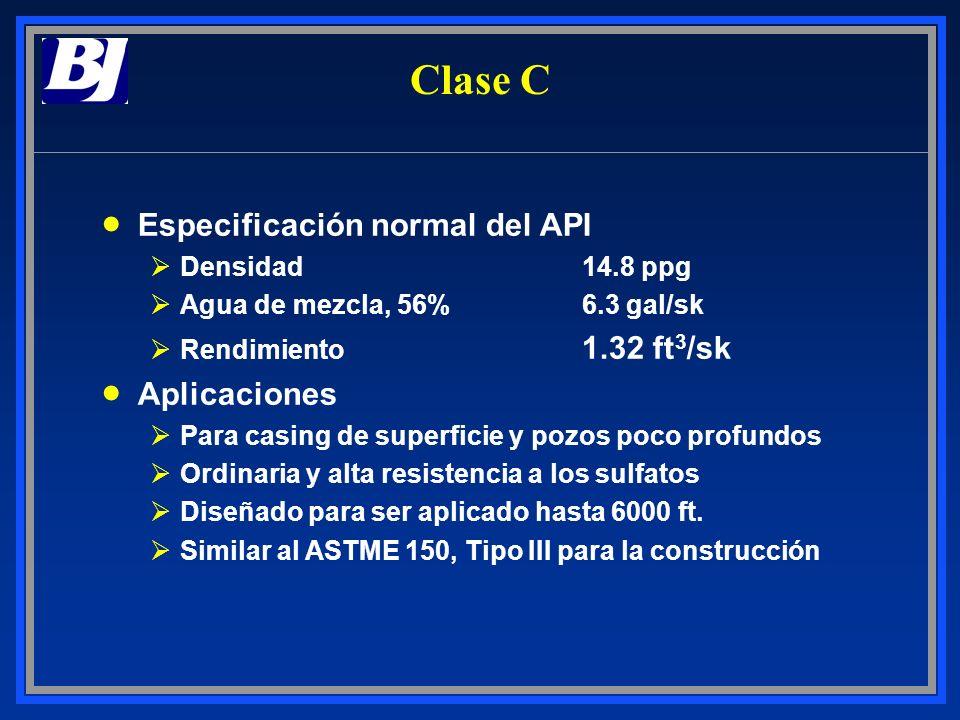 Clase C Especificación normal del API Aplicaciones Densidad 14.8 ppg