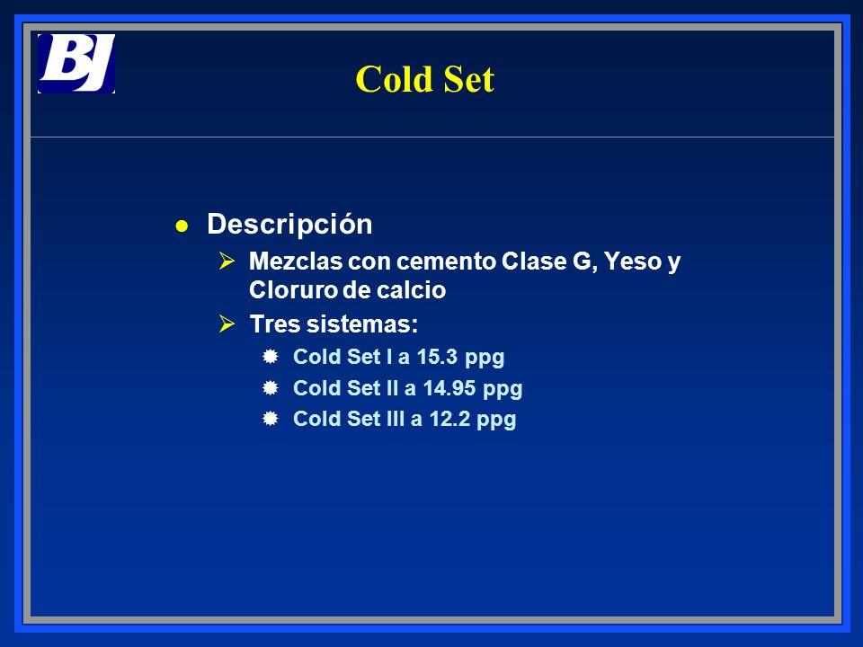 Cold SetDescripción. Mezclas con cemento Clase G, Yeso y Cloruro de calcio. Tres sistemas: Cold Set I a 15.3 ppg.