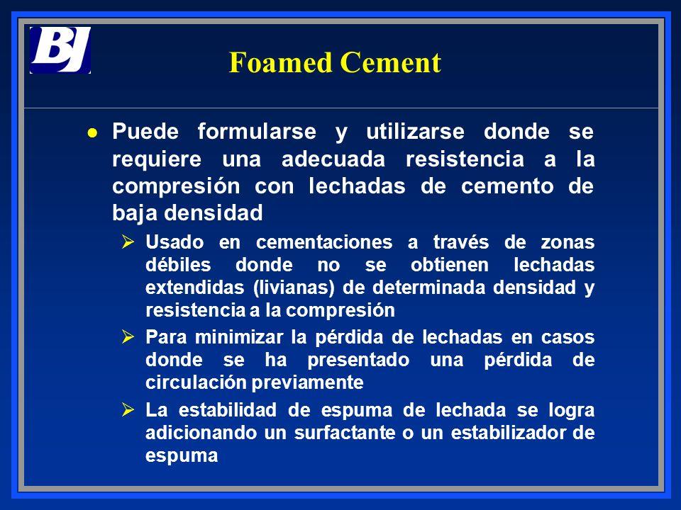 Foamed Cement Puede formularse y utilizarse donde se requiere una adecuada resistencia a la compresión con lechadas de cemento de baja densidad.