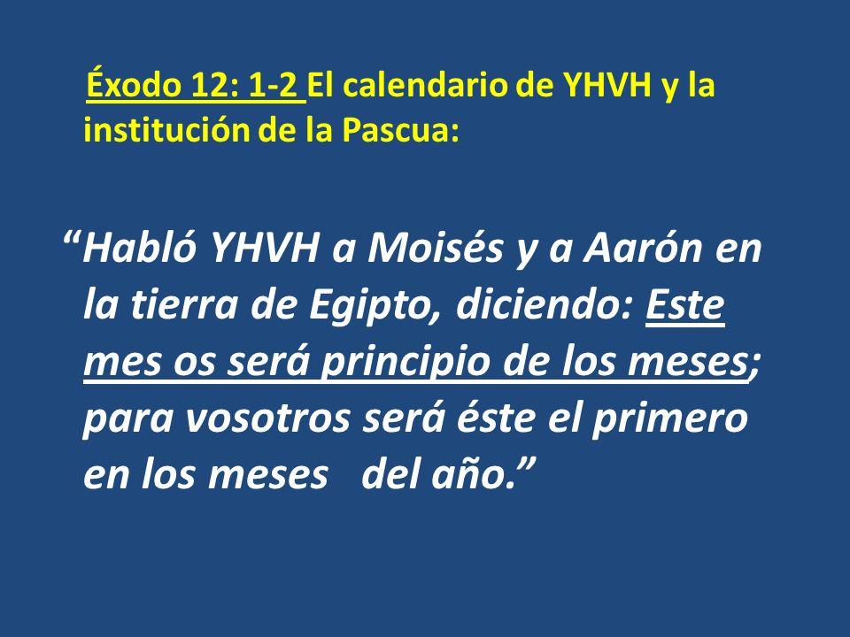 Éxodo 12: 1-2 El calendario de YHVH y la institución de la Pascua: