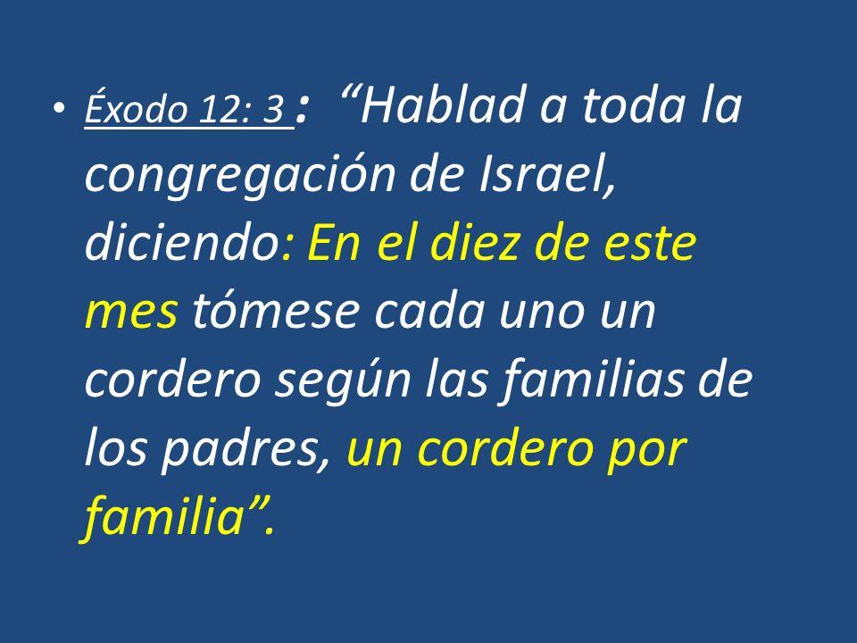 Éxodo 12: 3 : Hablad a toda la congregación de Israel, diciendo: En el diez de este mes tómese cada uno un cordero según las familias de los padres, un cordero por familia .