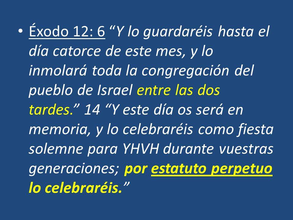 Éxodo 12: 6 Y lo guardaréis hasta el día catorce de este mes, y lo inmolará toda la congregación del pueblo de Israel entre las dos tardes. 14 Y este día os será en memoria, y lo celebraréis como fiesta solemne para YHVH durante vuestras generaciones; por estatuto perpetuo lo celebraréis.