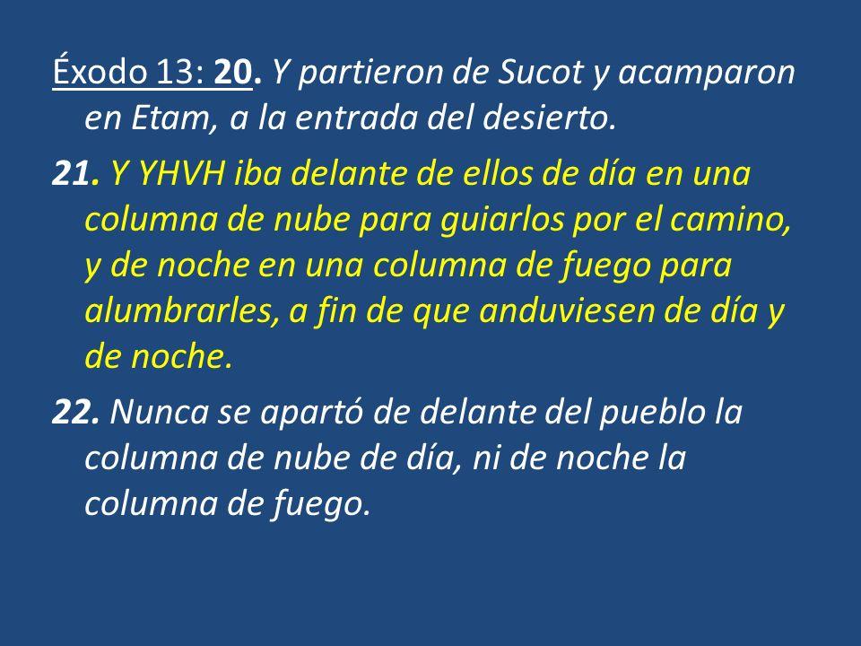 Éxodo 13: 20. Y partieron de Sucot y acamparon en Etam, a la entrada del desierto.