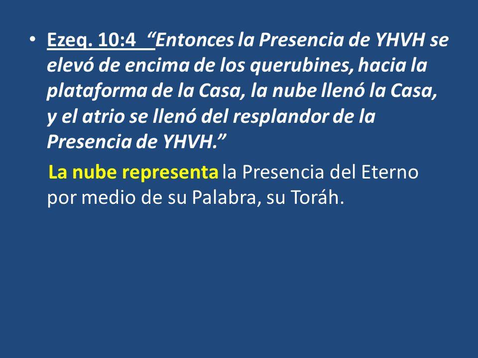 Ezeq. 10:4 Entonces la Presencia de YHVH se elevó de encima de los querubines, hacia la plataforma de la Casa, la nube llenó la Casa, y el atrio se llenó del resplandor de la Presencia de YHVH.