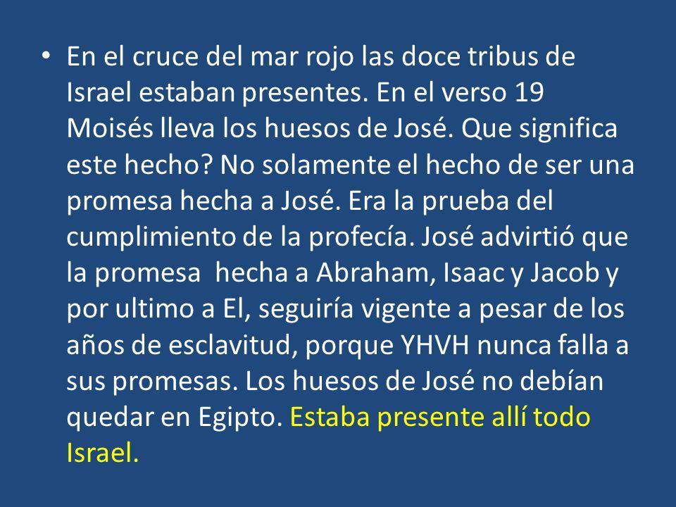 En el cruce del mar rojo las doce tribus de Israel estaban presentes